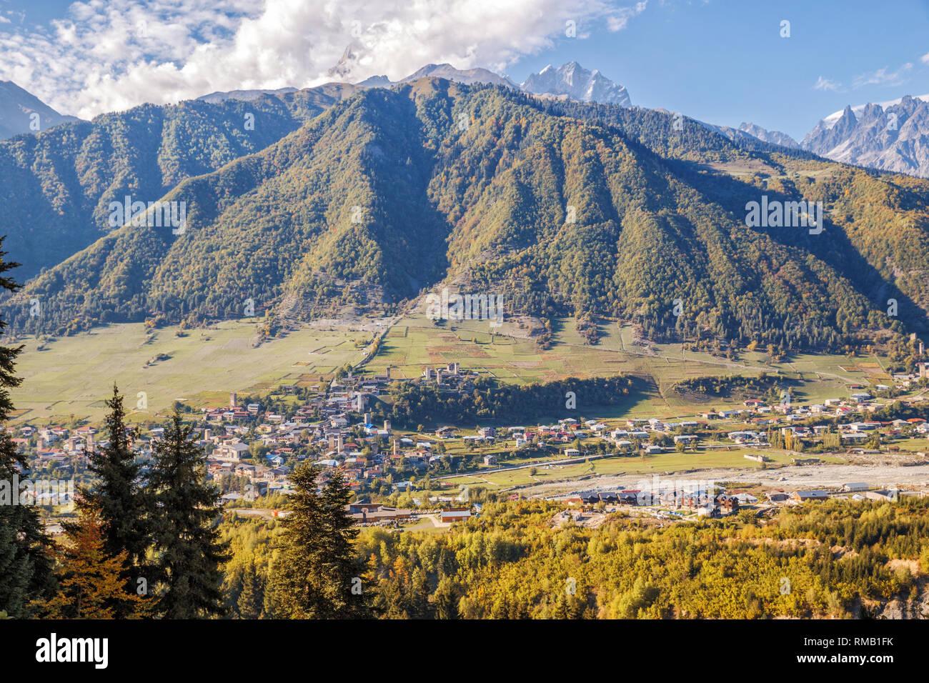 Caucasian landscape, aerial view of the town Mestia in mountain valley, Upper Svaneti, Georgia Stock Photo