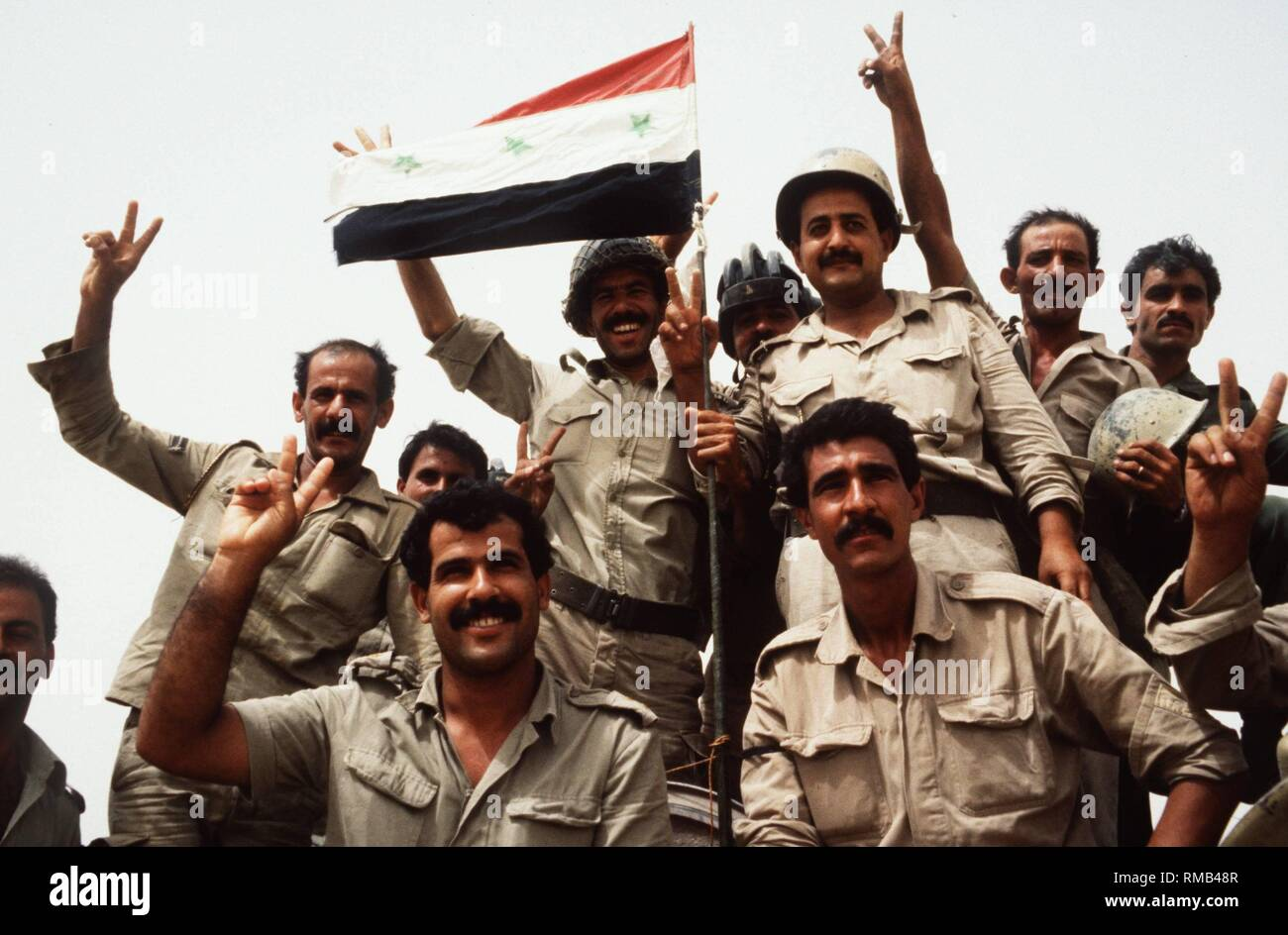 Soldiers of the Iraqi army are certain of their victory in the first Gulf War against Iran. - Stock Image