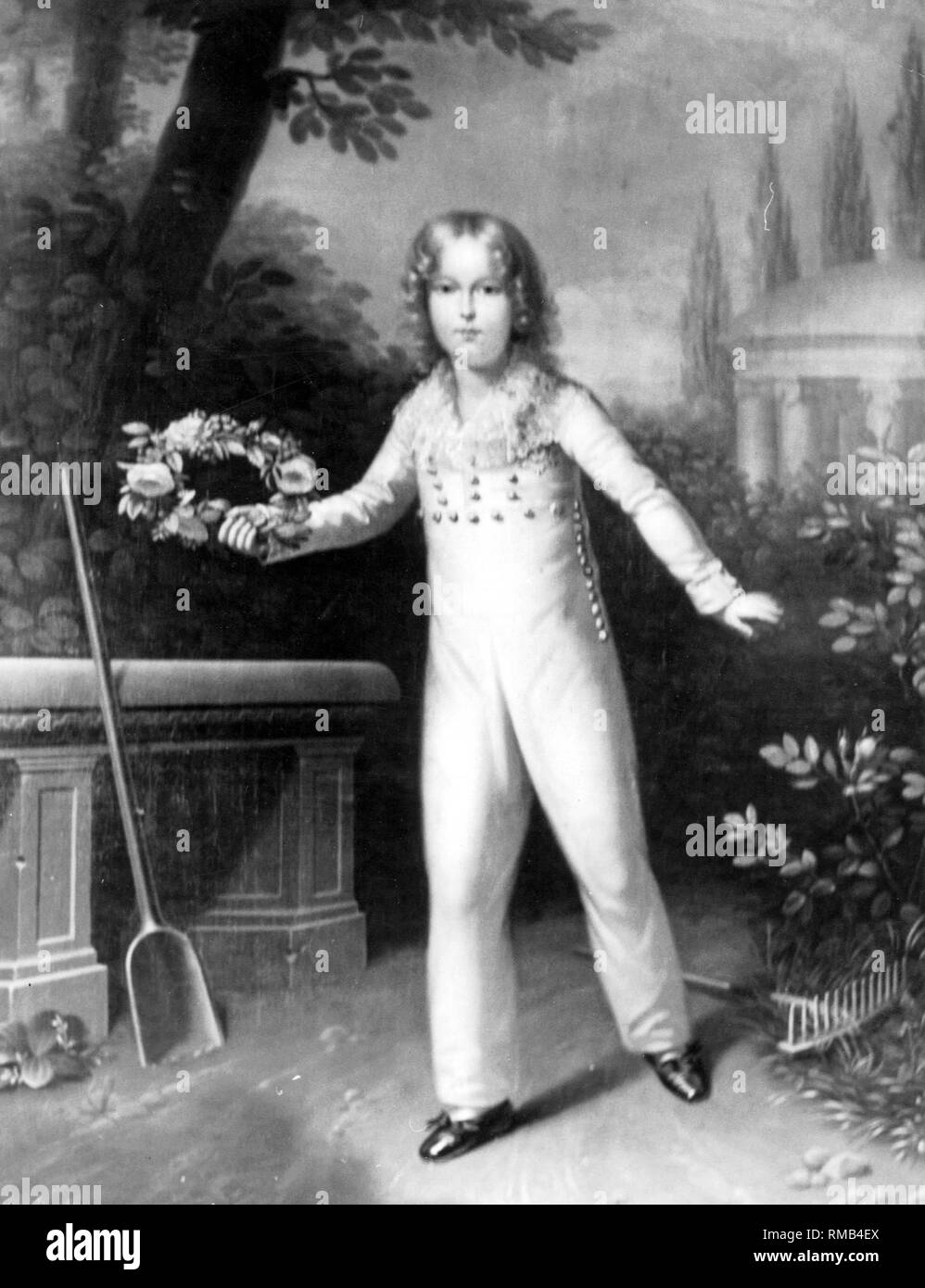 Napoleon, Duke of Reichstadt (as Emperor of the French Napoleon II), son of Napoleon I Bonaparte and Archduchess Marie Louise of France. After a painting in Schoenbrunn. Stock Photo