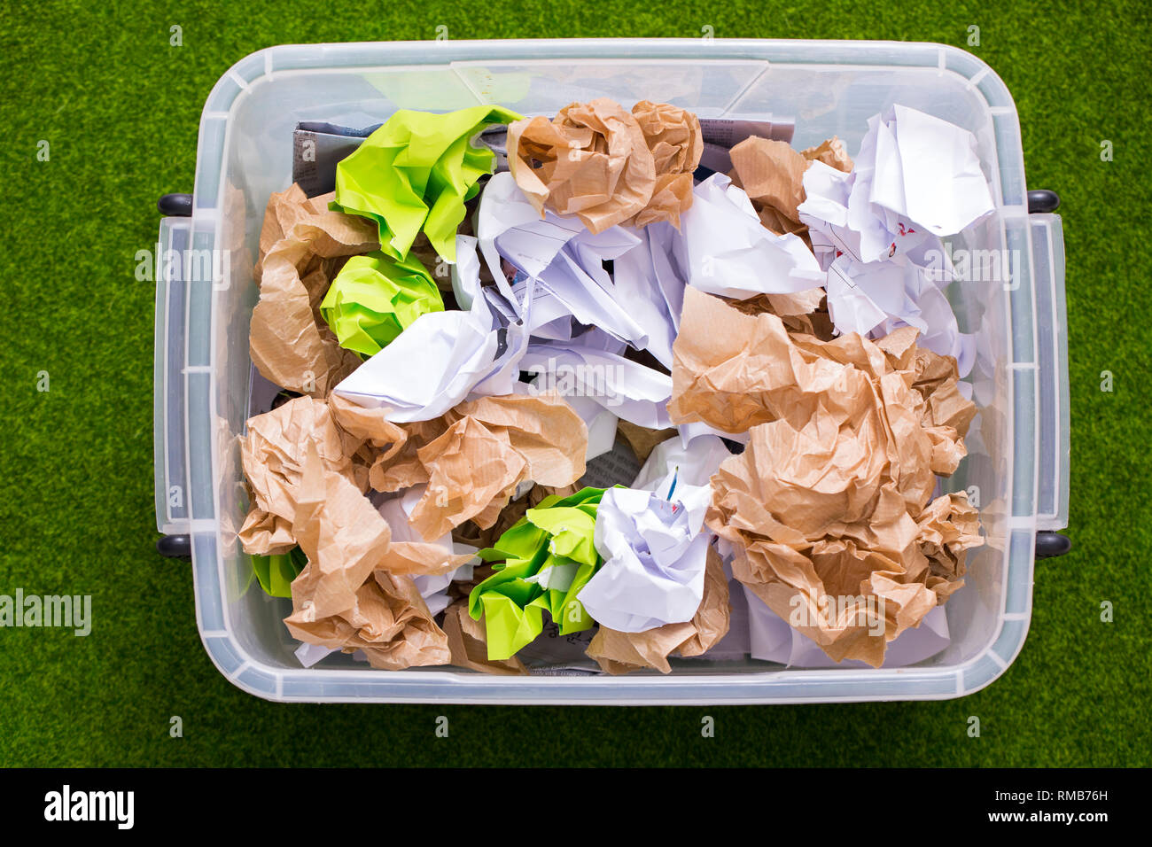 Recycling concept, Garbage for recycling with recycling symbol. Environmental protection concept photo. 071 - Stock Image