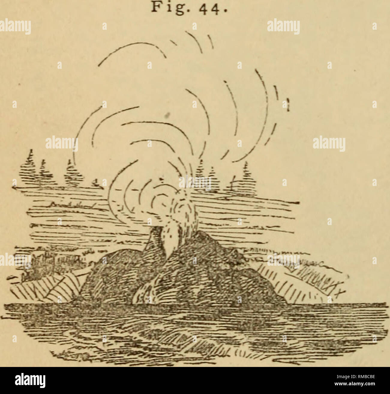 . Annual report. 1st-12th, 1867-1878. Geology. 112 GEOLOGICAL SUEYEY OF THE TERRITORIES. called the White Dome Geyser. (Fig. 42.) The broad mound is 15 feet high, and upon this is a chimney about 20 feet in height. The steam issues steadily from the toiy like a high-pressui^e engine. Early in the morning of August 30, the valley was literally filled with columns of steam, ascending from more than a-thousand vents. I can compare the view to nothing but that of some manufacturing city like Pittsburgh, as seen from a high point, except that instead of the black coal smoke, there are here the whit - Stock Image