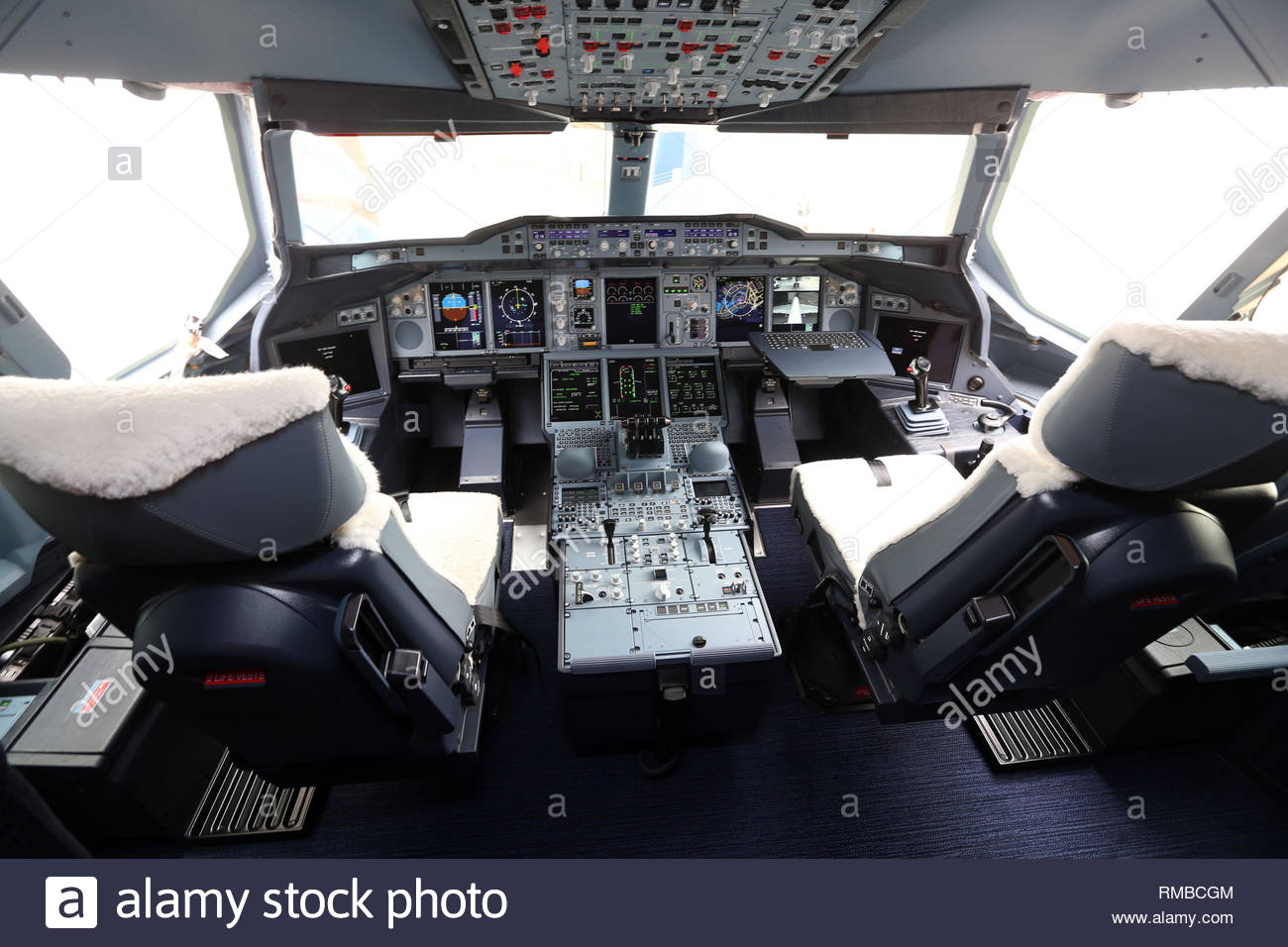 File photo dated 4/7/2013 of the flight deck of a British Airways Airbus A380. Airbus has announced it will cease deliveries of its flagship A380 superjumbo passenger jet in 2021. Stock Photo