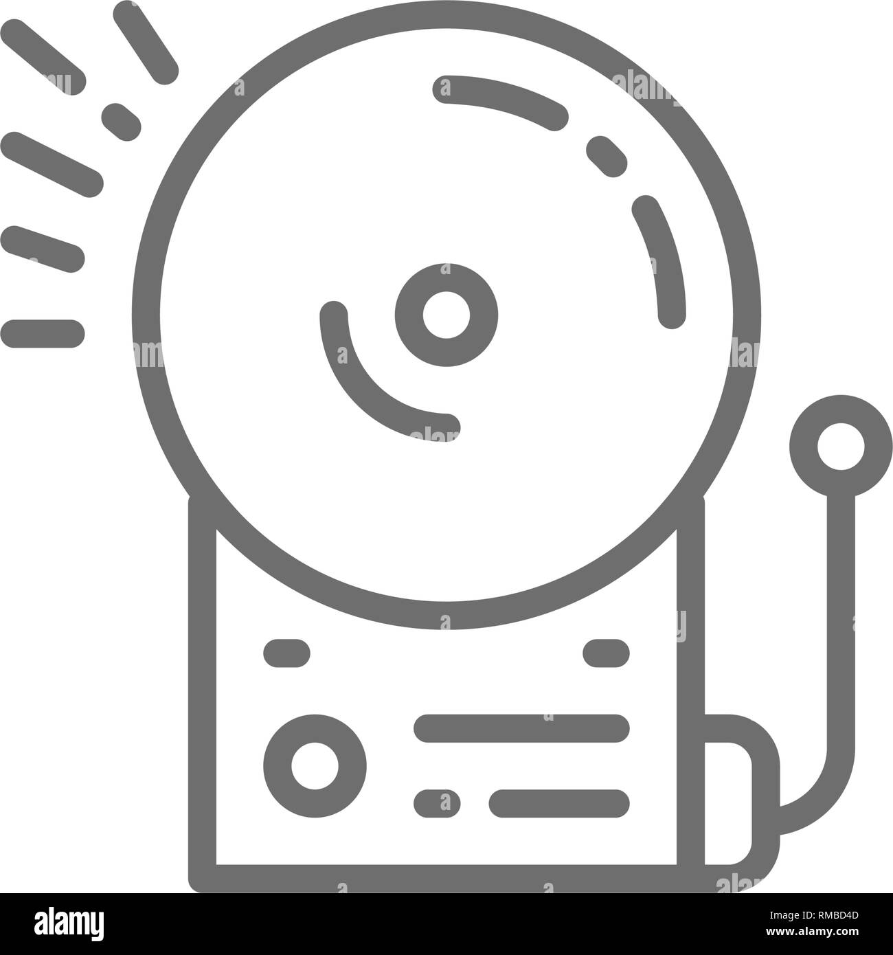 Fire alarm, school bell line icon. - Stock Image