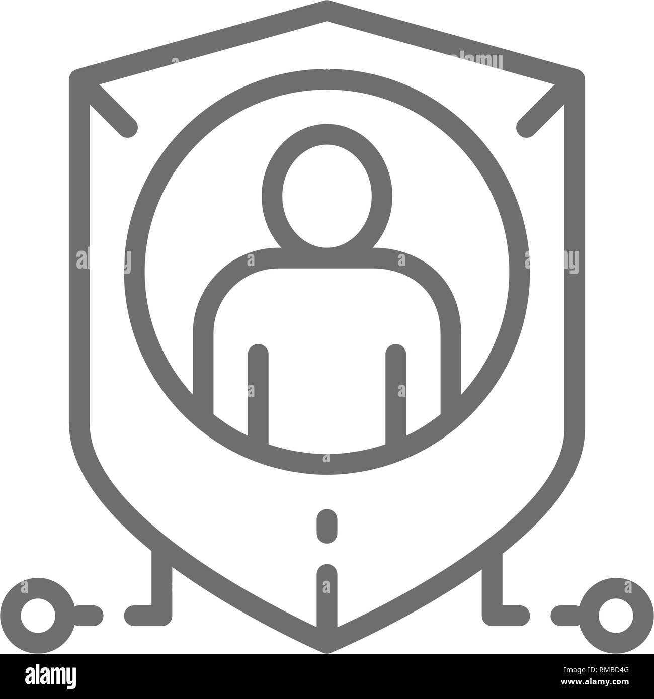 Shield with person, personal protection, privacy line icon. - Stock Image