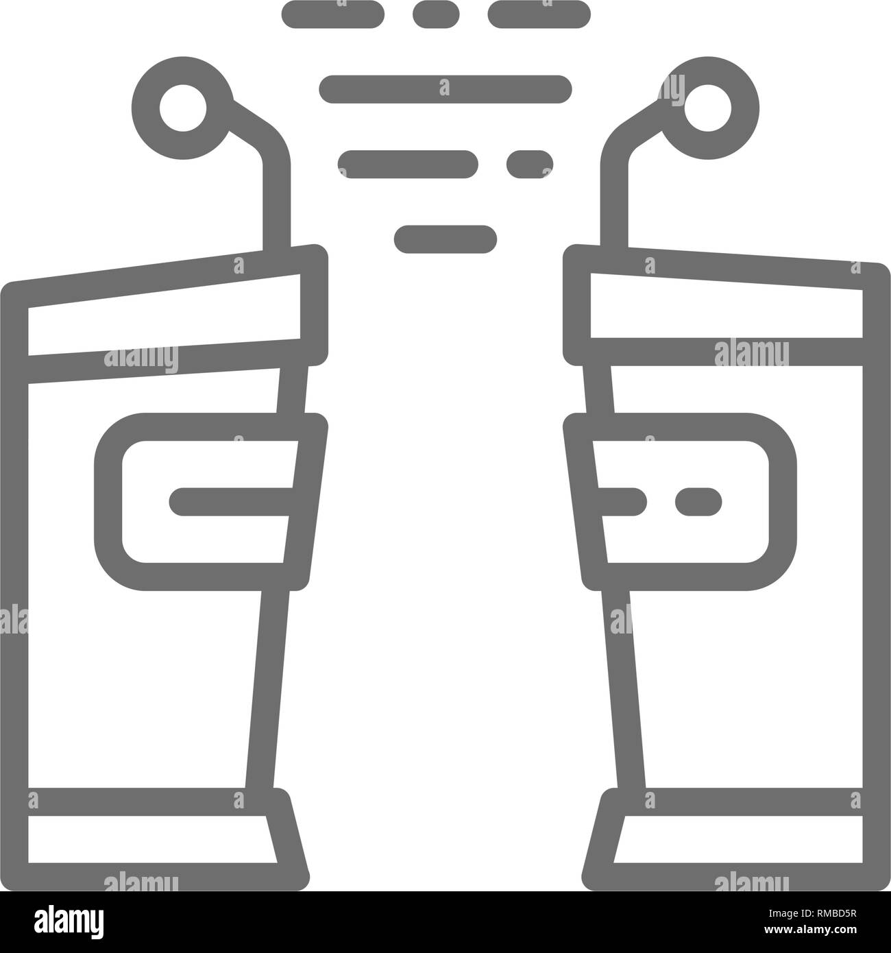 Political debates, tribune, vs line icon. - Stock Vector