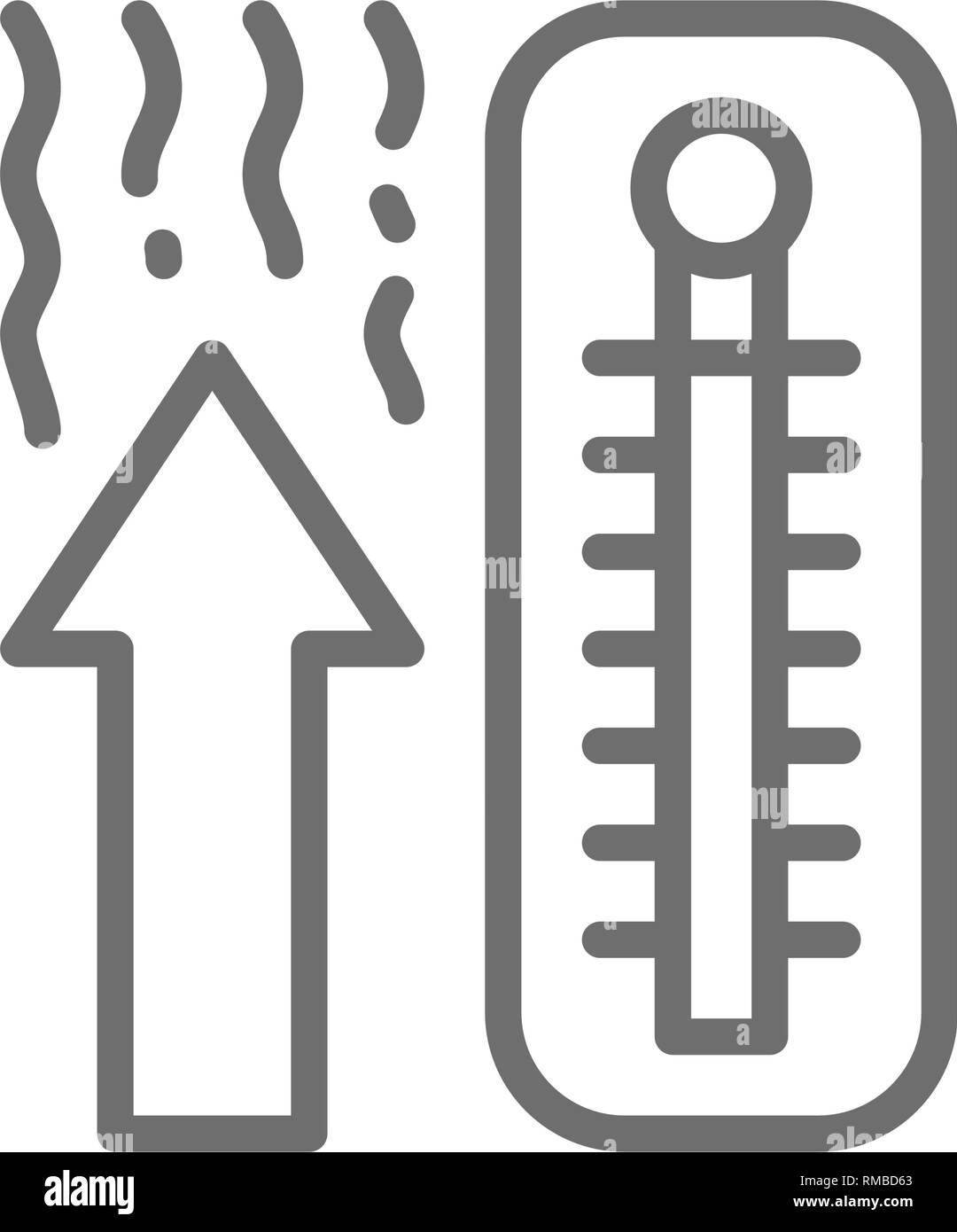 Thermometer, temperature rise line icon. - Stock Image