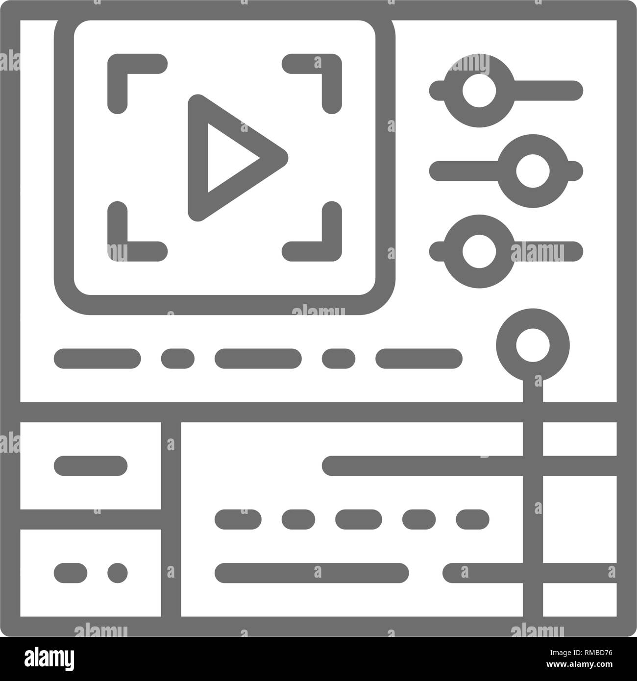 Video editing software, cinema production line icon. - Stock Image