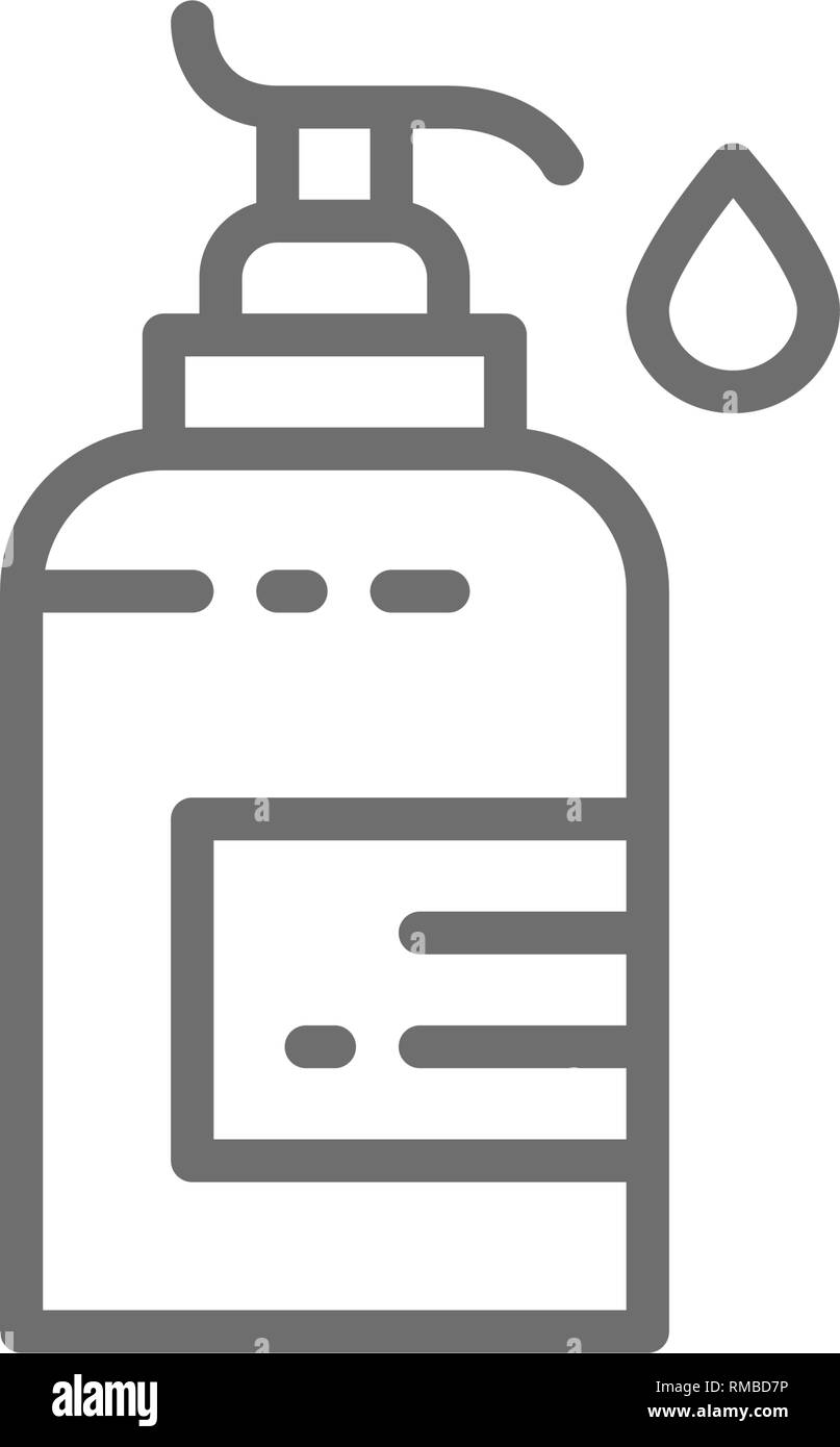 Disinfectant dispenser, liquid soap, hand cream line icon. - Stock Image