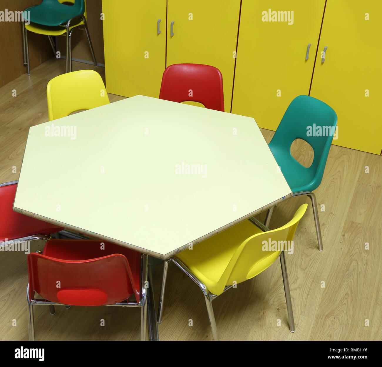 Wondrous Low Chairs And Hexagonal Table Of A Kindergarten Class Inzonedesignstudio Interior Chair Design Inzonedesignstudiocom