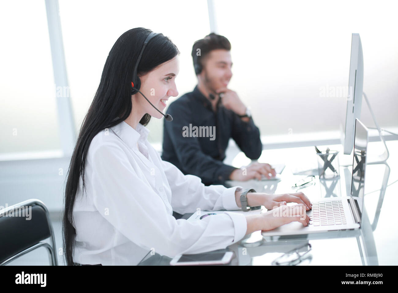agent, customer service, working at the call center Stock Photo