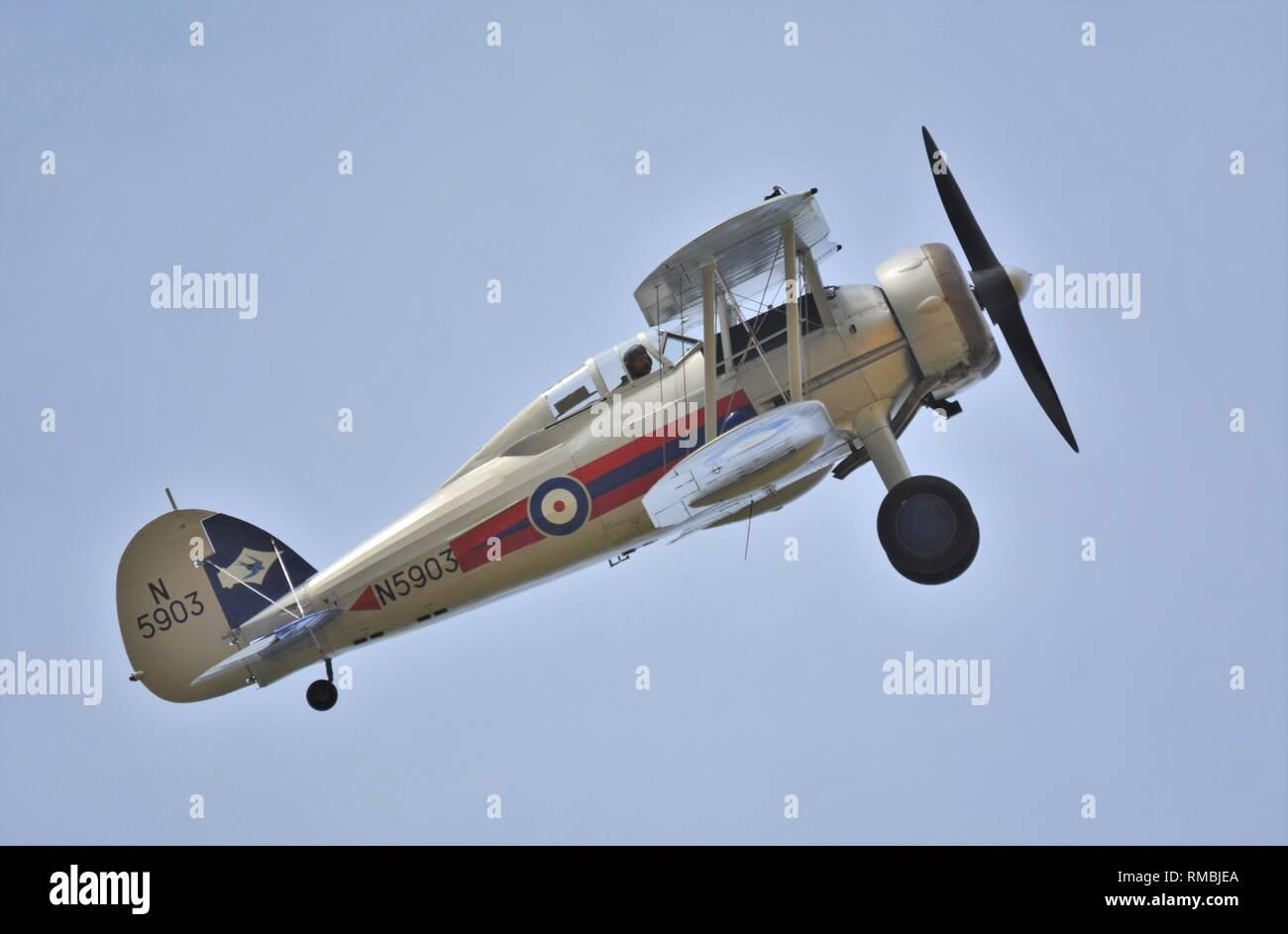 Gloster Gladiator world war 2, the last bi plane fighter. - Stock Image