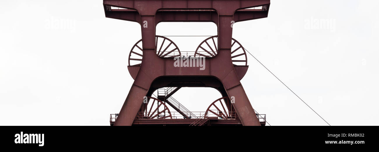 Headframe mine Zollverein Shaft XII, Essen, Ruhr district, North Rhine-Westphalia, Germany, Europe, - Stock Image