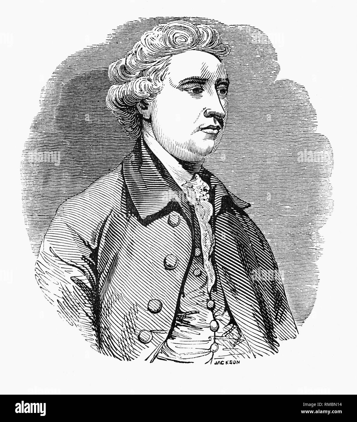 Edmund Burke (1729-1797) was an Irish statesman born in Dublin, as well as an author, orator, political theorist and philosopher, who after moving to London in 1750 served as a member of parliament (MP) between 1766 and 1794 in the House of Commons with the Whig Party. Burke is regarded by most political historians in the English-speaking world as the father of modern British conservatism. - Stock Image