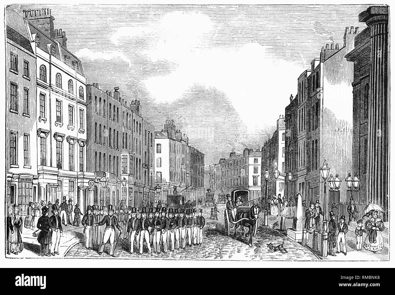 Marching Police in Bow Street, London. Formed from the Bow Street Runners founded in 1749 by magistrate Henry Fielding but after the establishment of the Metropolitan Police in 1829, the policing responsibilities of the Bow Street magistrates were very considerably diminished. The Bow Street patrol was gradually absorbed into the new police force and Bow Street was left with only the Runners. In 1834 a parliamentary committee recommended that the Bow Street men and constables should be incorporated with the Metropolitan Police as soon as possible. - Stock Image