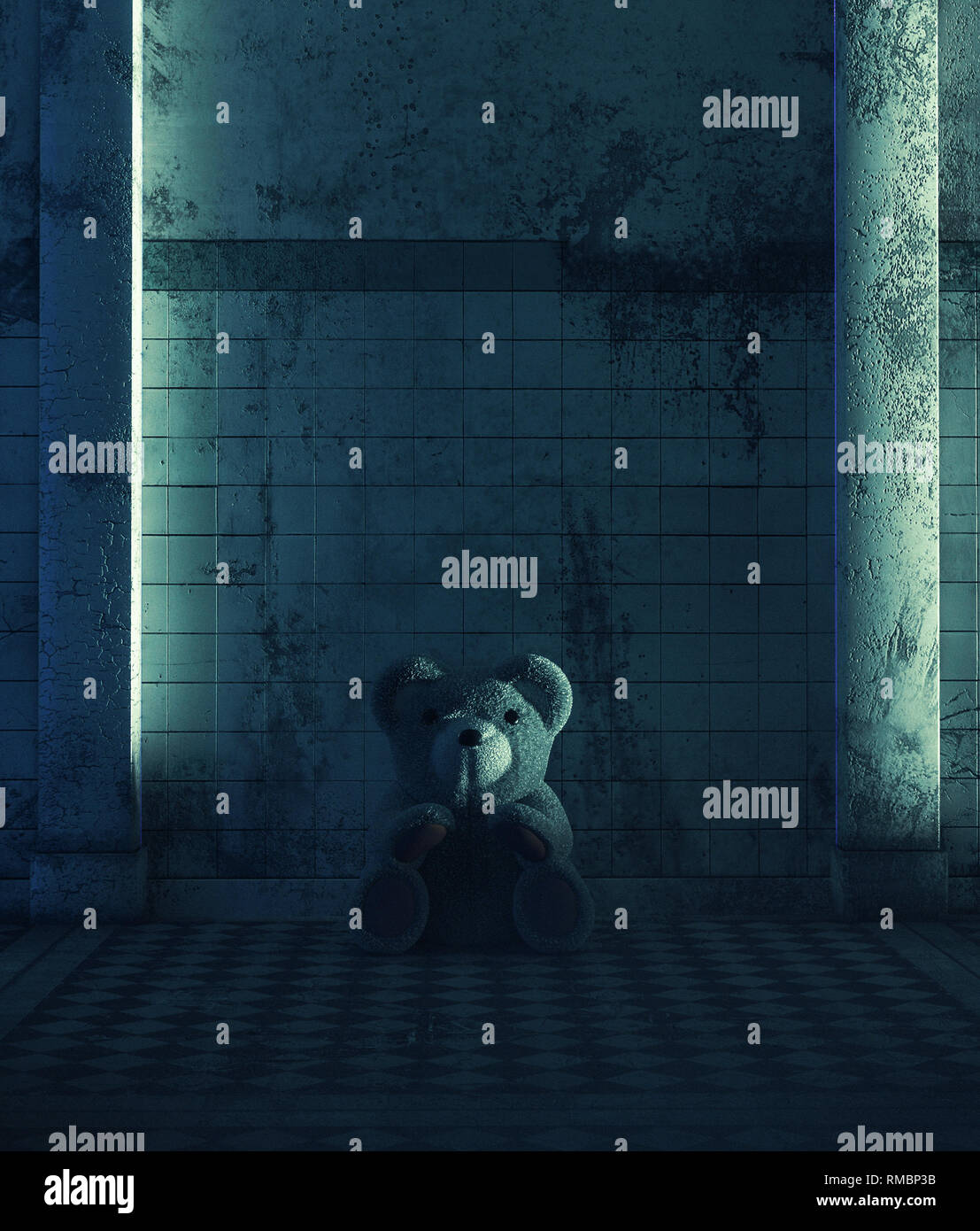Teddy bear sitting in haunted house,Scary background for