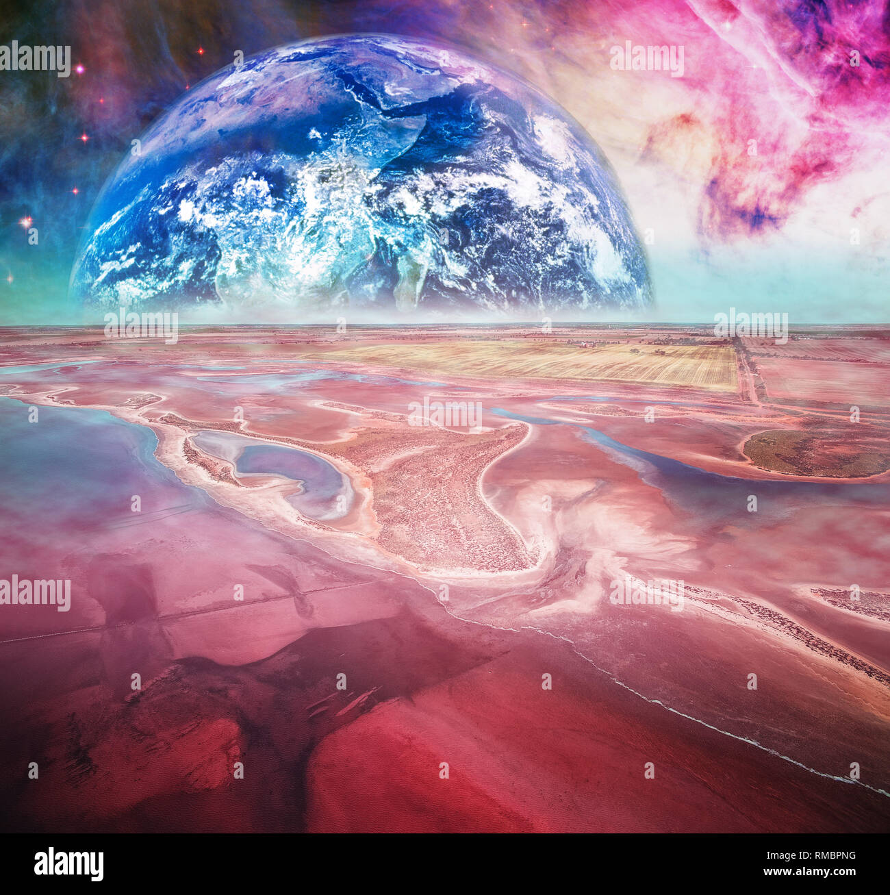 Fantasy landscape on alien planet. Elements of this image are furnished by NASA - Stock Image