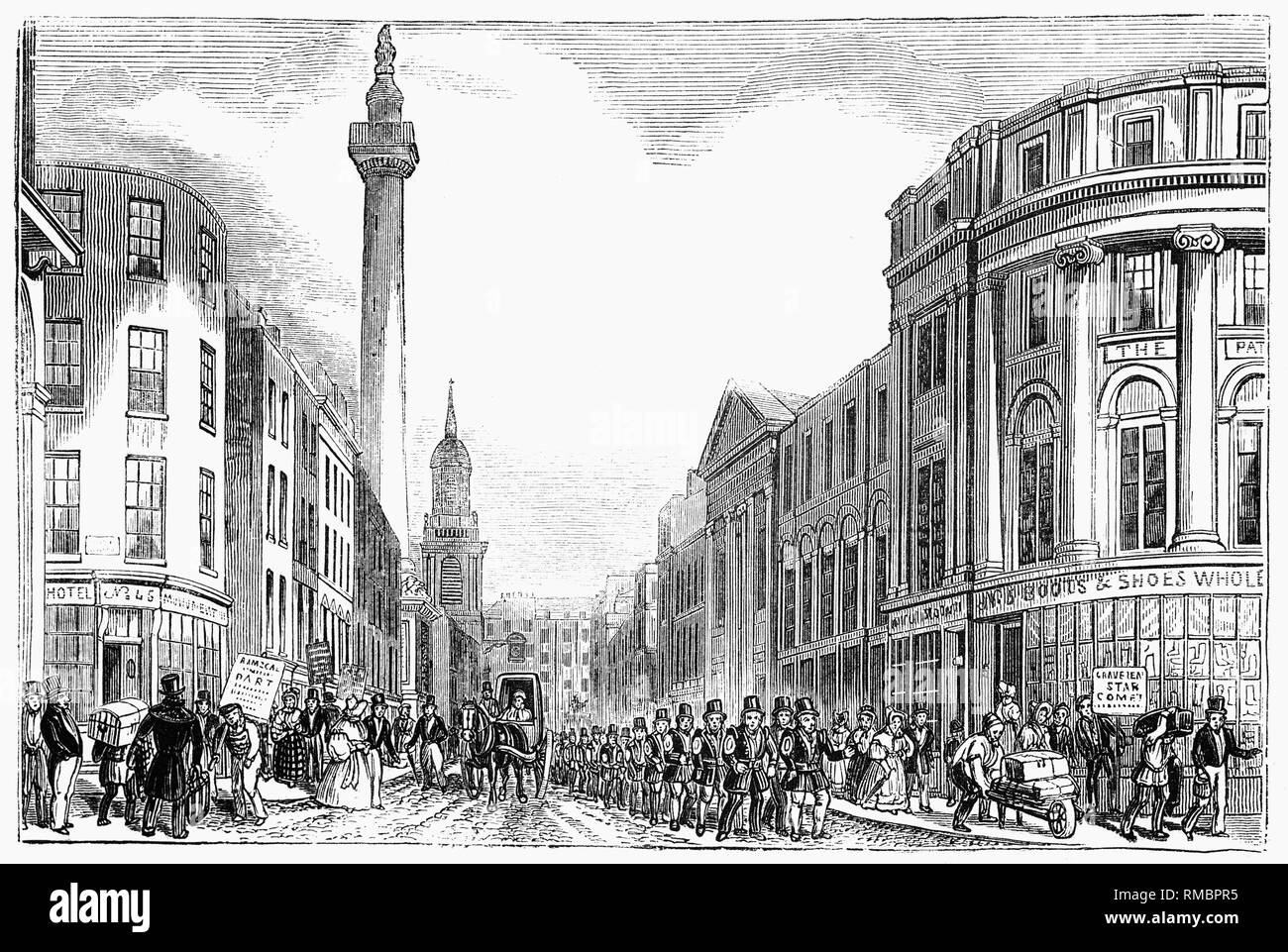 Members of the 19th century London Fire Brigade march on Old Fish Street Hill below the Monument to the Great Fire, a Doric column in London, United Kingdom, situated near the northern end of London Bridge. Commemorating the Great Fire of London, it stands at the junction of Monument Street and Fish Street Hill, 202 feet just west of the spot in Pudding Lane where the Great Fire started on 2 September 1666. Constructed between 1671 and 1677, it was built on the site of St. Margaret's, Fish Street, the first church to be destroyed by the Great Fire. - Stock Image