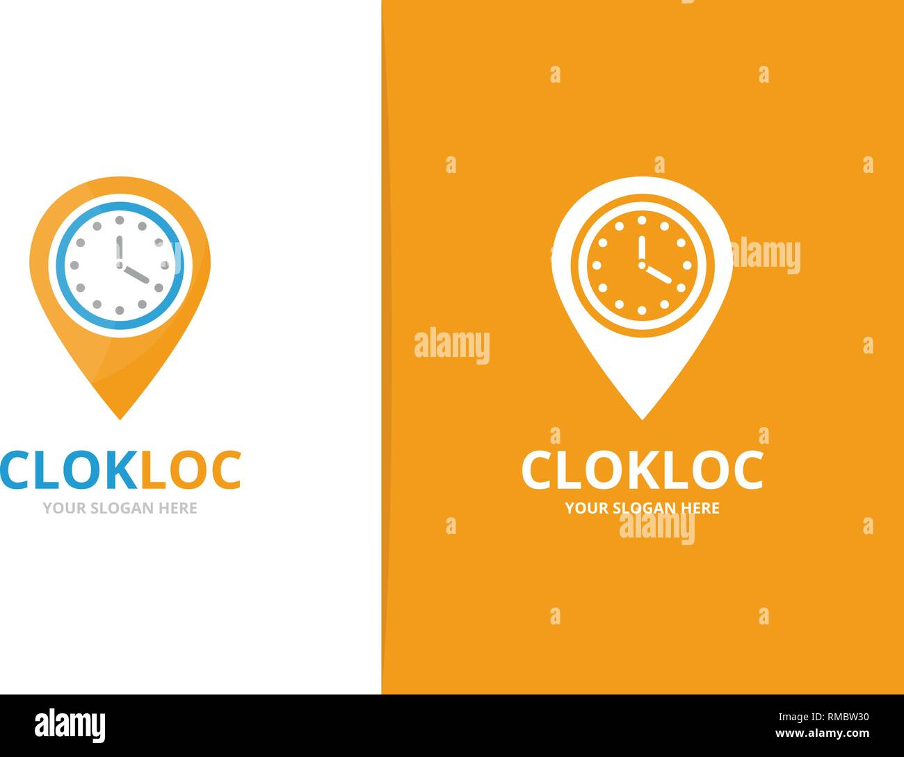 Vector clock and map pointer logo combination. Unique express and pin logotype design template. - Stock Vector