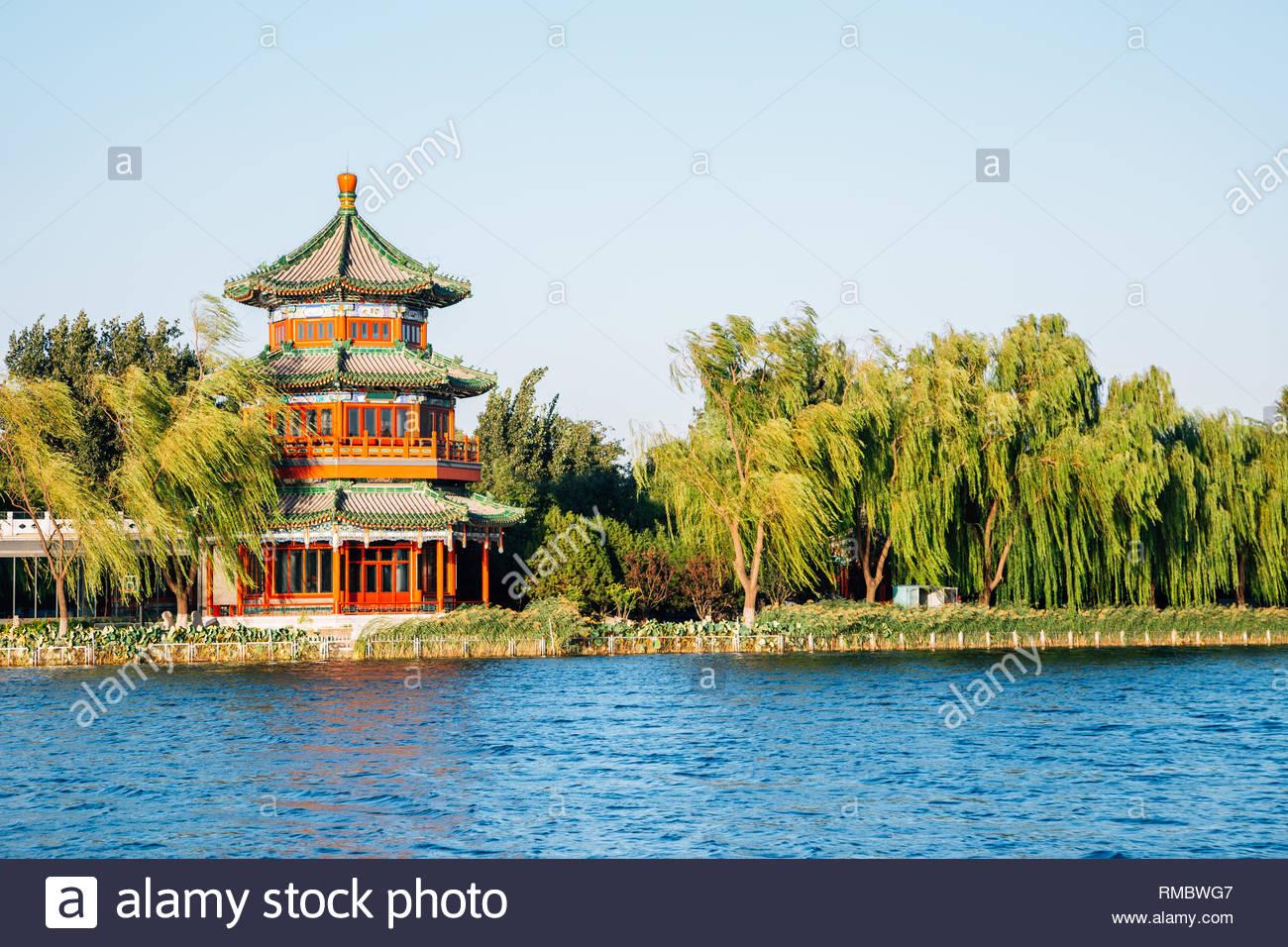 Shichahai Houhai lake and Chinese traditional pavilion in Beijing, China - Stock Image
