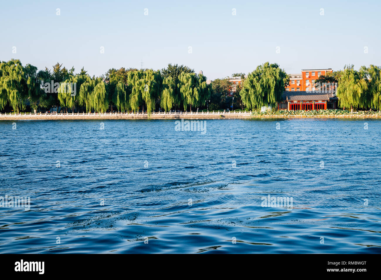 Shichahai Houhai lake and Chinese traditional pavilion in Beijing, China Stock Photo