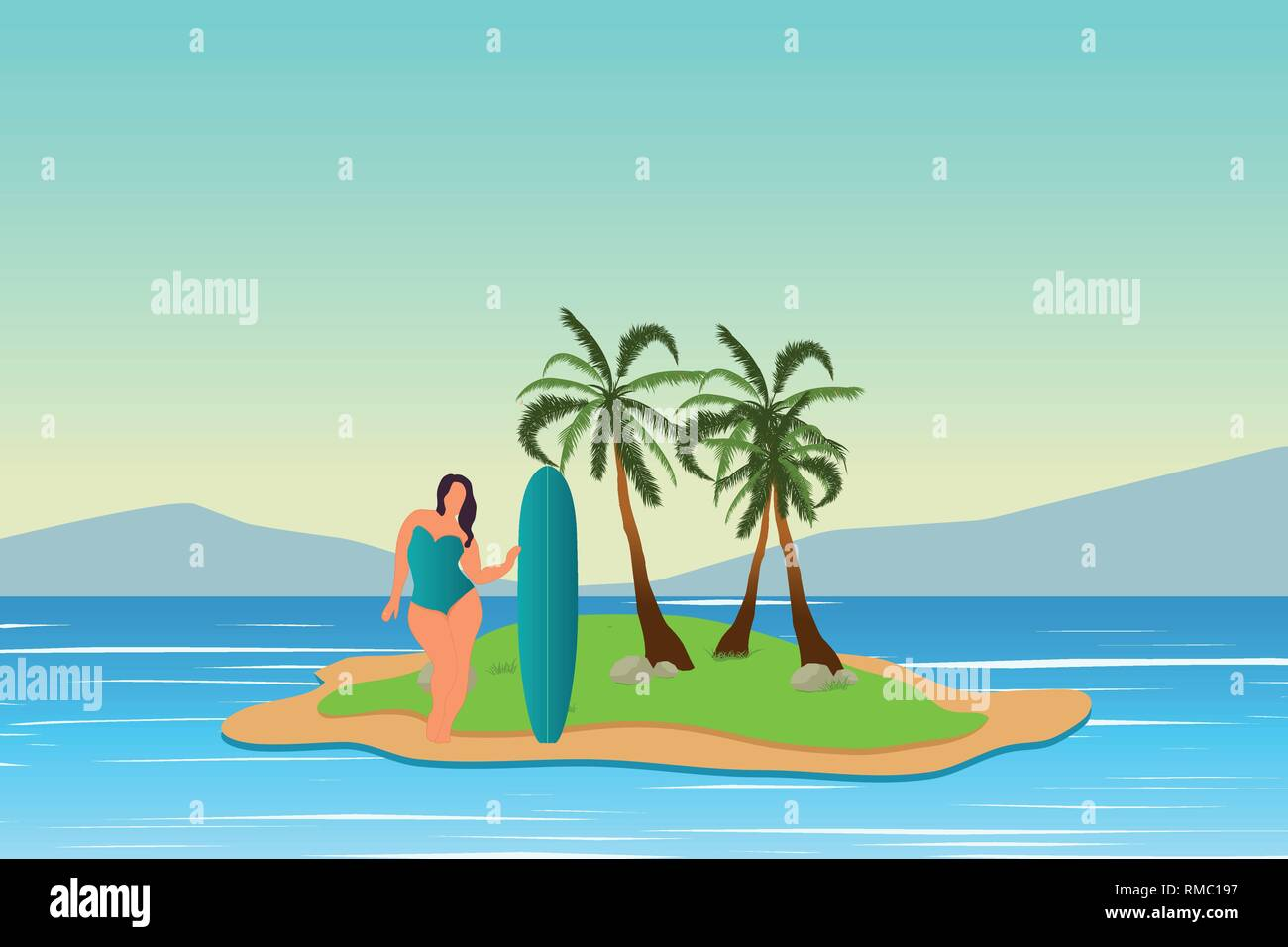Tropical landscape. Sea landscape. Summer background. Girl with surfing board. Flat style illustration. Palm trees. Vector illustration - Stock Image