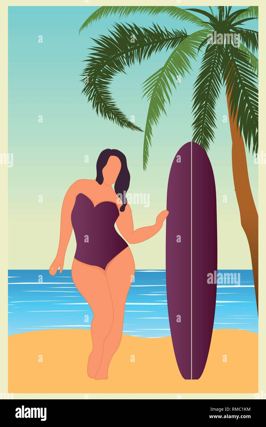 Tropical landscape. Sea landscape Summer background Girl with surfing board Flat style illustration. Palm trees. Vector illustration - Stock Vector