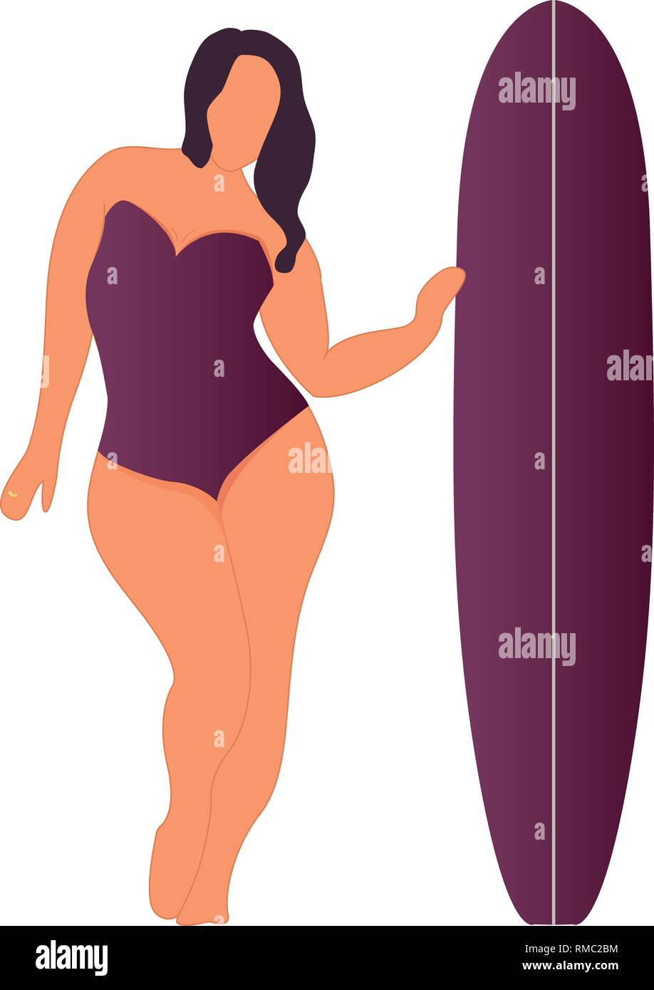 Girl with surfing board. Flat style illustration. Vector illustration - Stock Vector