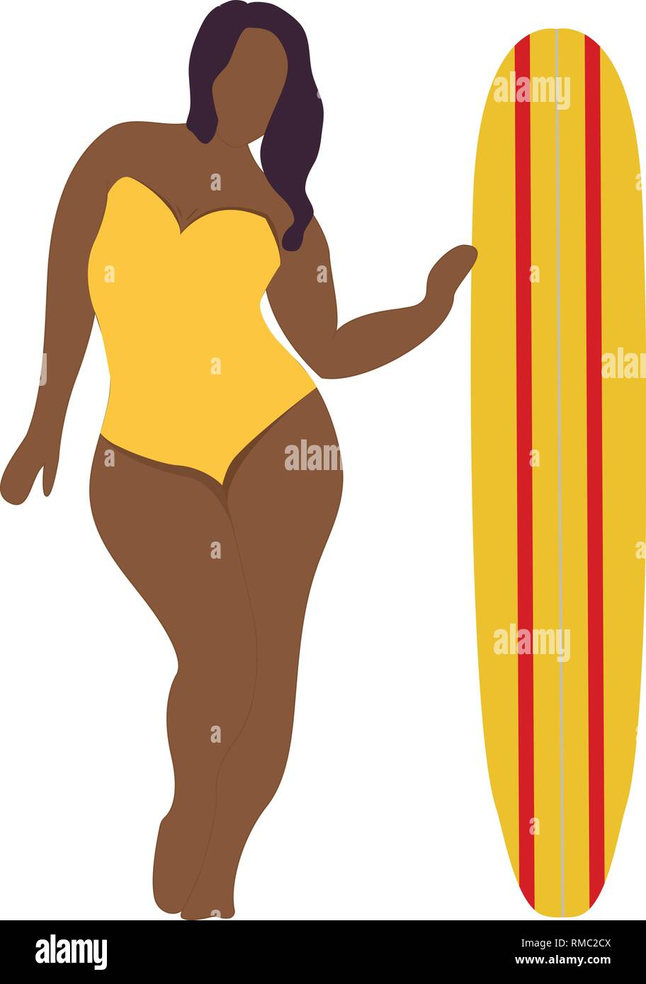 Girl with surfing board. Flat style illustration. Vector illustration Stock Vector