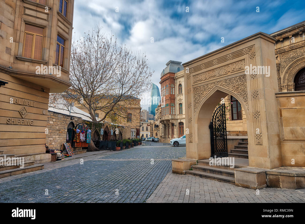 Baku Flame Towers and Old Town, Azerbaijan, taken in January 2019 - Stock Image