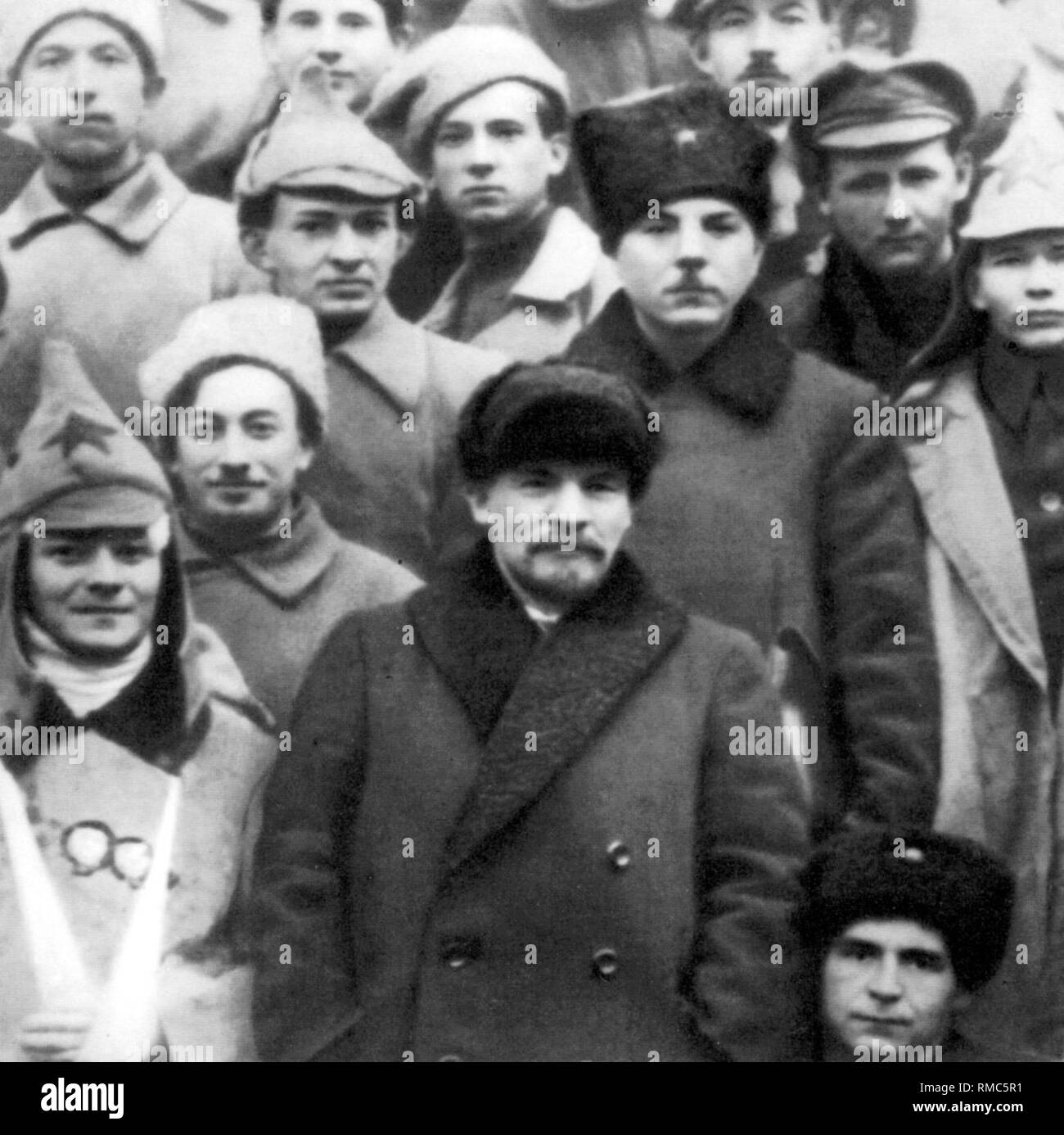 Lenin with a group of delegates of the 10th Congress of the CPSU in Moscow. - Stock Image