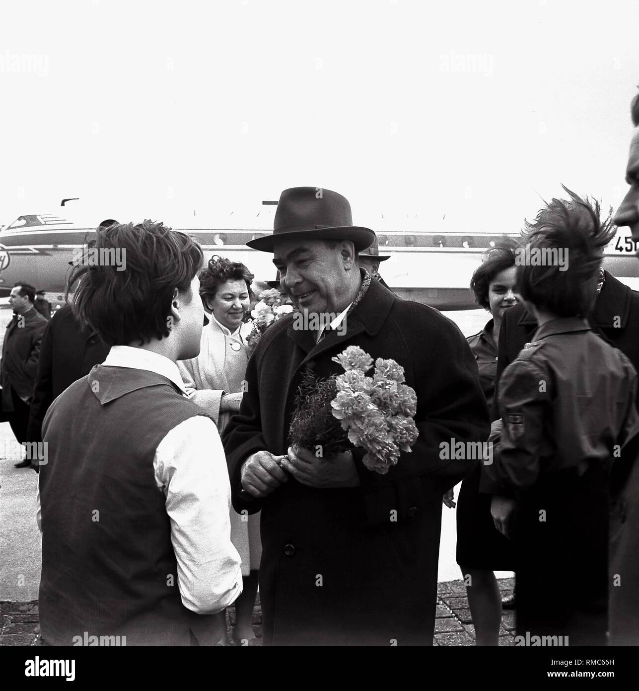 The General Secretary of the CPSU, Leonid Brezhnev, at the airport in Erfurt. - Stock Image