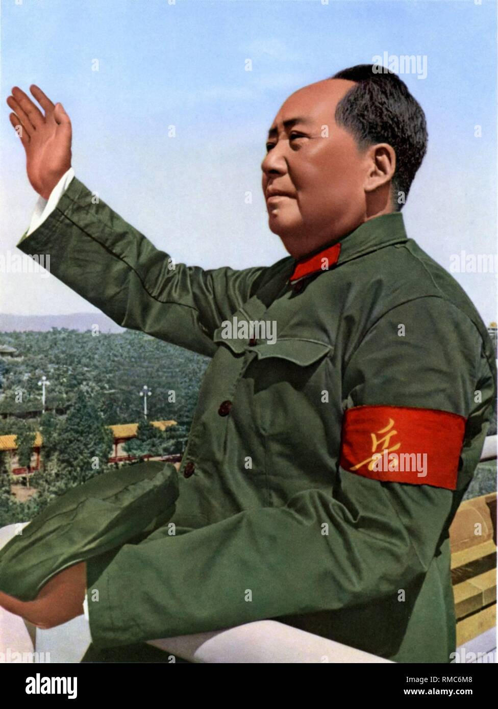 Mao Zedong - (* 26.12.1893 - 09.09.1976), between 1935 - 1976 Chairman of the Chinese Communist Party. Betwee 1954 - 1959 he was President of the People's Republic of China. Chinese propaganda poster of the 'Great Leader' Mao Zedong after swimming in the Jangtze from 1966, undated. - Stock Image
