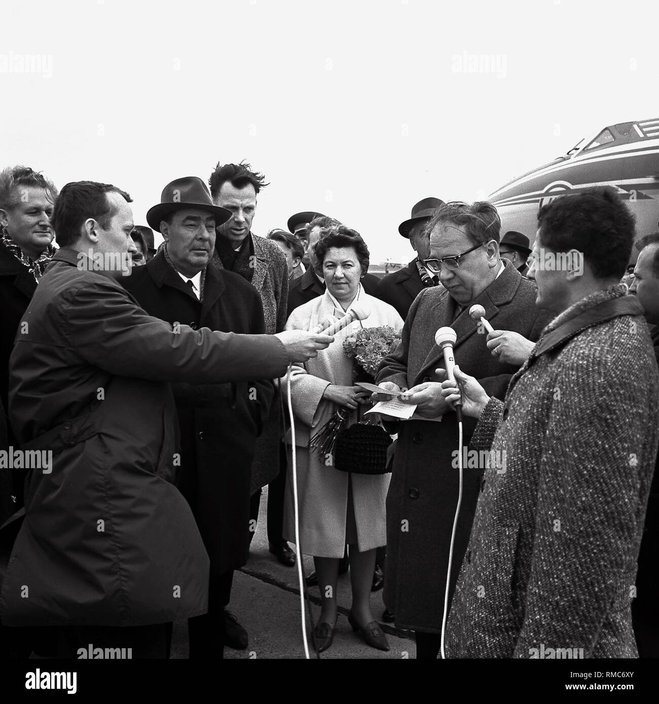 The General Secretary of the CPSU, Leonid Brezhnev, at the airport in Erfurt. (undated photo) - Stock Image