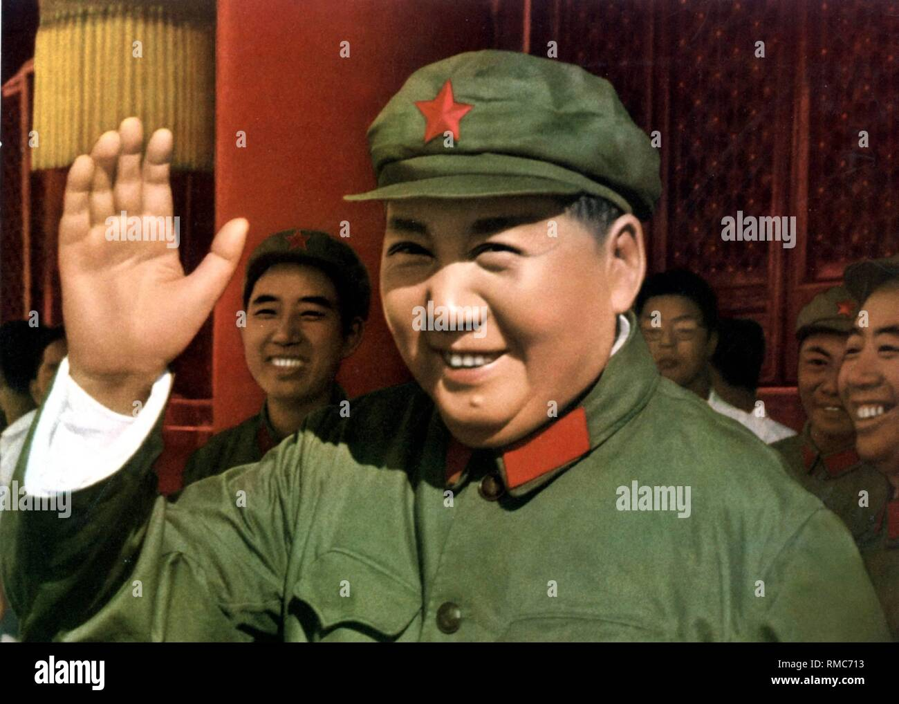 Mao Zedong - (* 26.12.1893 - 09.09.1976), between 1935 - 1976 Chairman of the Chinese Communist Party. Betwee 1954 - 1959 he was President of the People's Republic of China. Chinese propaganda poster of the 'Great Leader' Mao Zedong from 1966, undated. - Stock Image