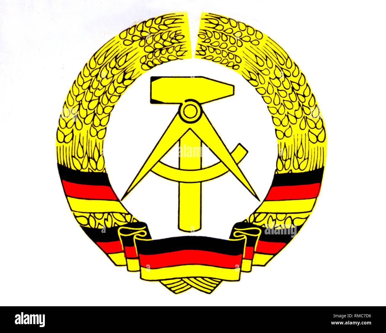 National coat of arms of the GDR. - Stock Image