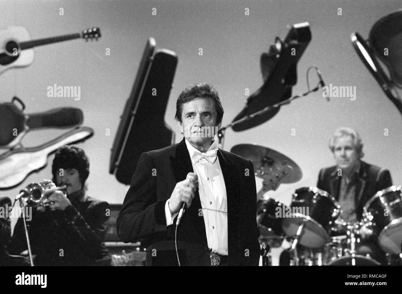 The American country singer Johnny Cash (photo from the early 80s) died on September 12, 2003 at the age of 71 years. Since 1997, he has suffered from Arkansas autonomic neuropathy, a rare nerve disease associated with diabetes. - Stock Image