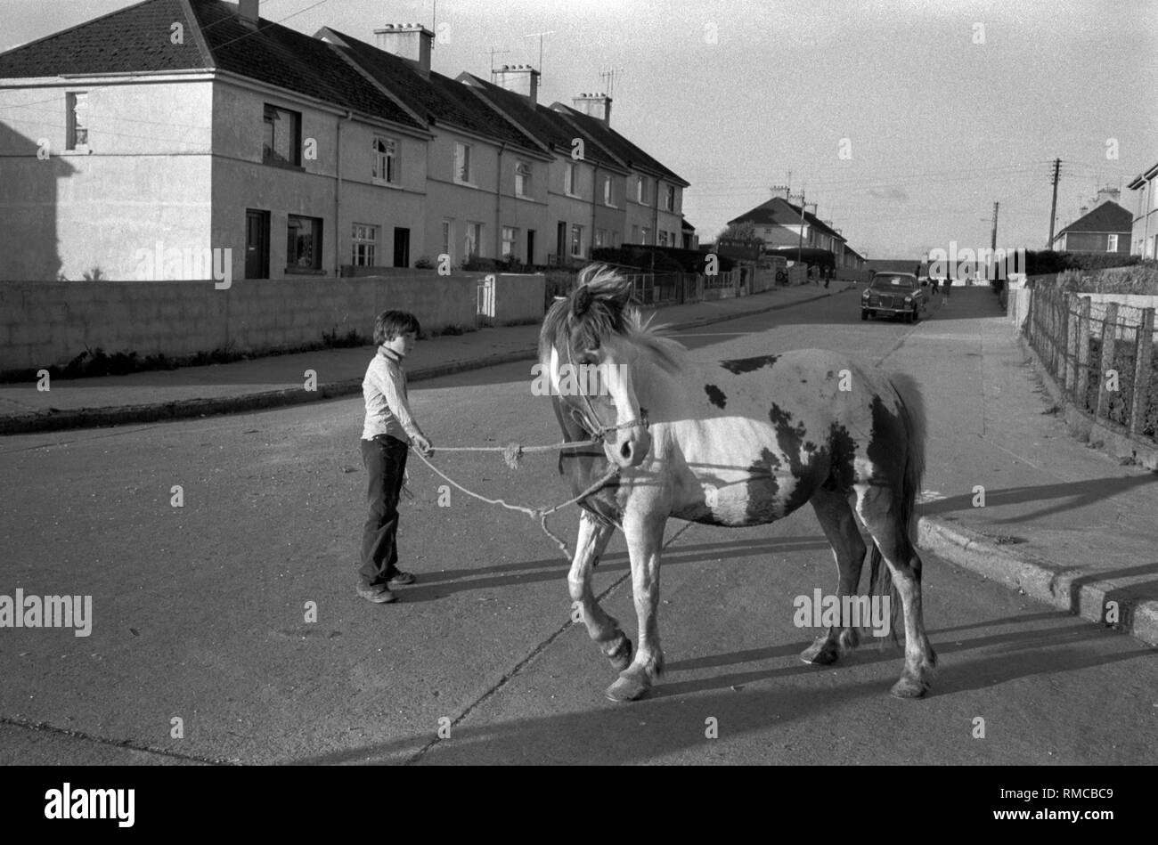 1970s Irish teen with pet urban horse Limerick, in County Limerick, Eire.  West Coast of Southern Ireland 70s The newly built  South Hill estate. HOMER SYKES - Stock Image