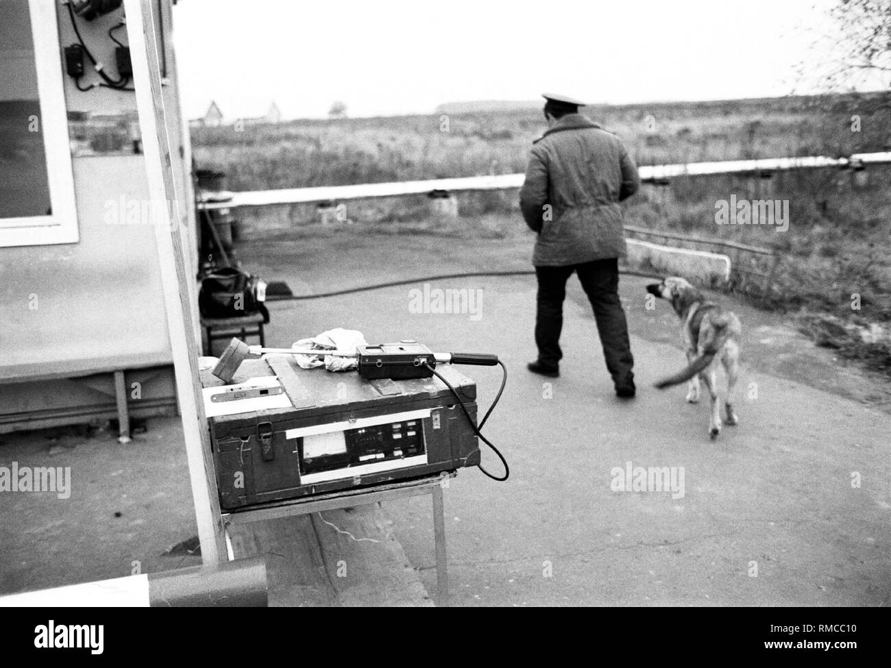 Control station at the uninhabitable 30 km Zone around the Chernobyl disaster reactor. - Stock Image