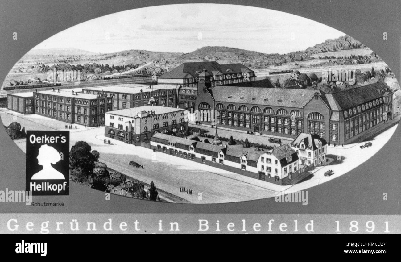 Company logo and headquarters of Dr. August Oetker Nahrungsmittel KG in Bielefeld around 1891. - Stock Image