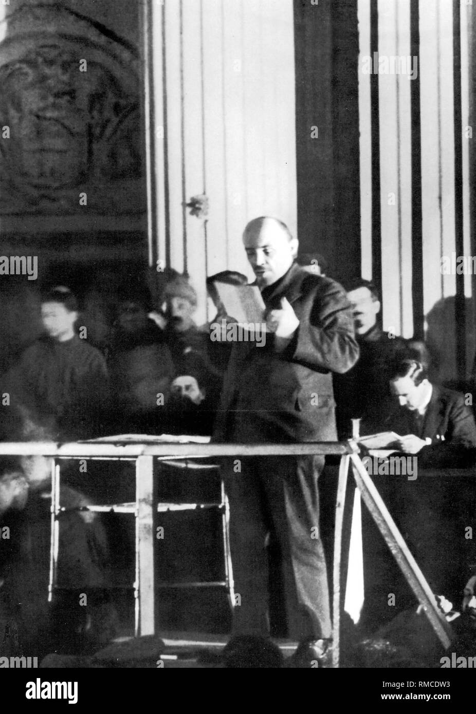Lenin during a speech at the 10th Congress of the CPSU in the Sverdlov Hall of the Kremlin. - Stock Image