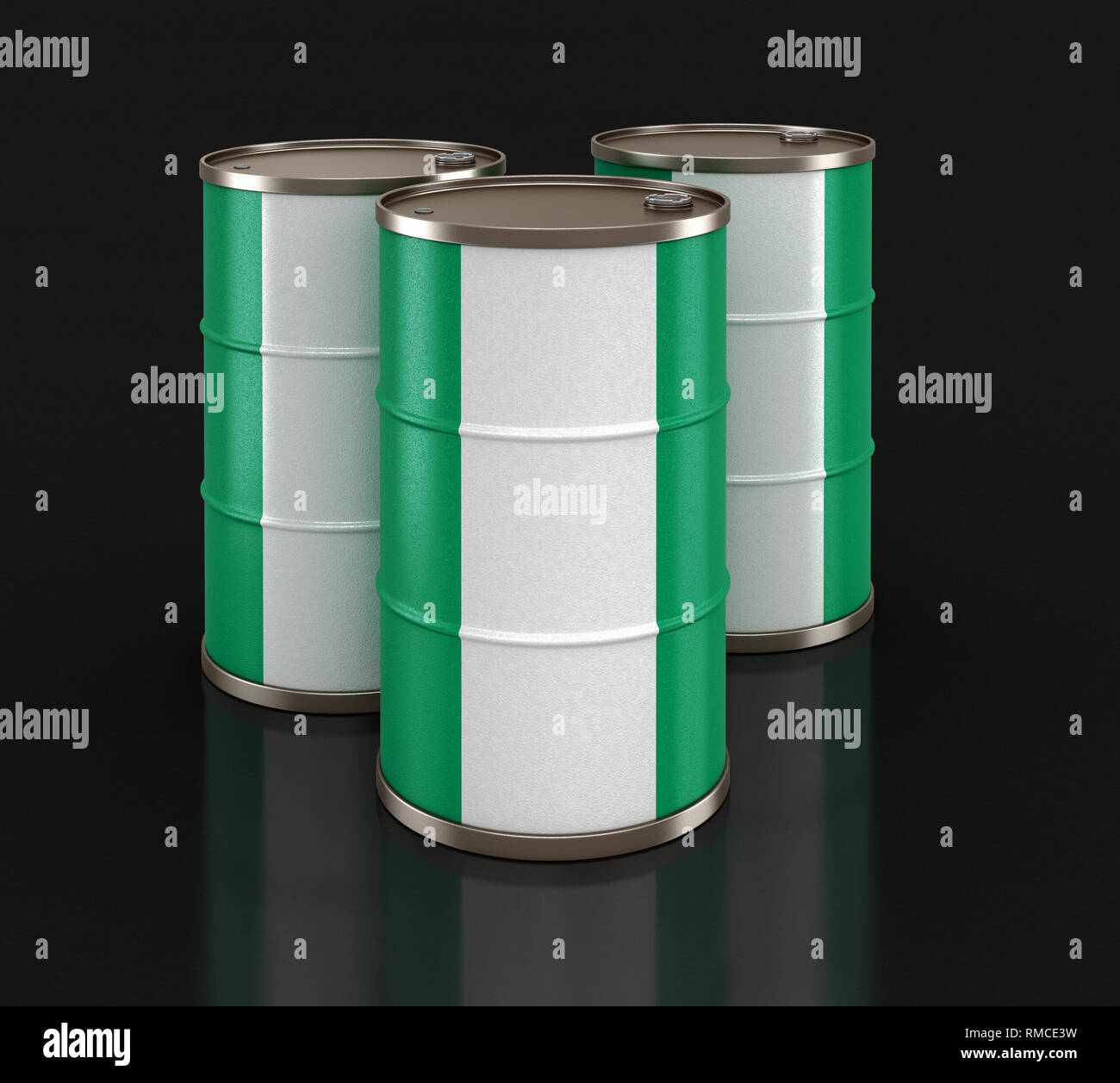 Oil barrel with flag. Image with clipping path - Stock Image