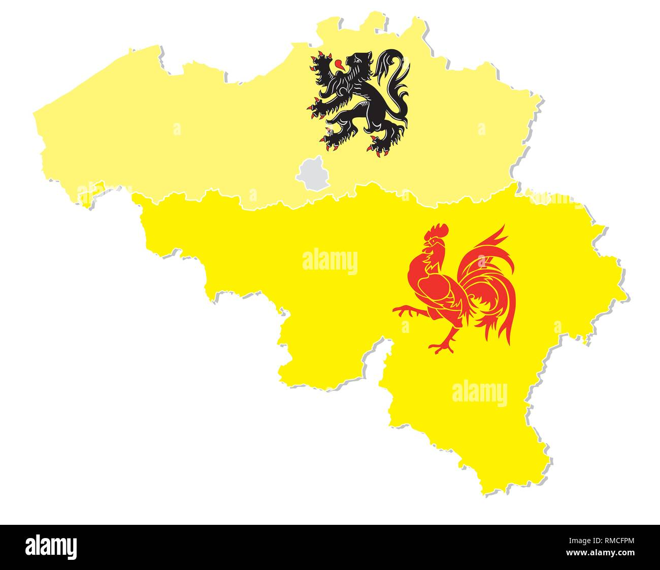 vector map of Belgium with the three regions Flemish, Wallonia and the capital Brussels in flag shape - Stock Image