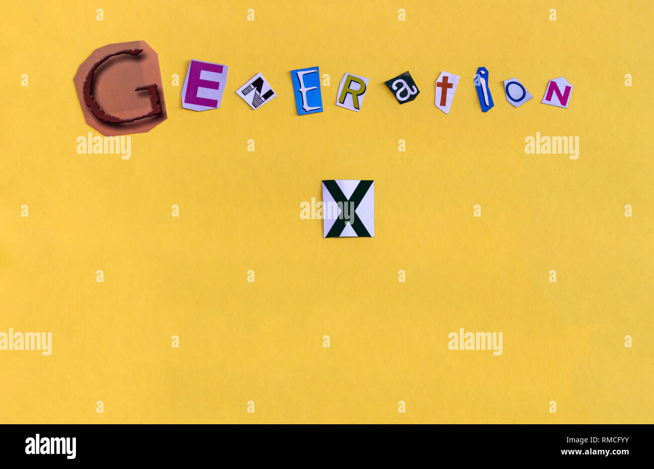 Word 'Generation X' formed with chaotic cut letters. The generation of people born between 1960 and 1980 also called lost generation. Copy space below - Stock Image