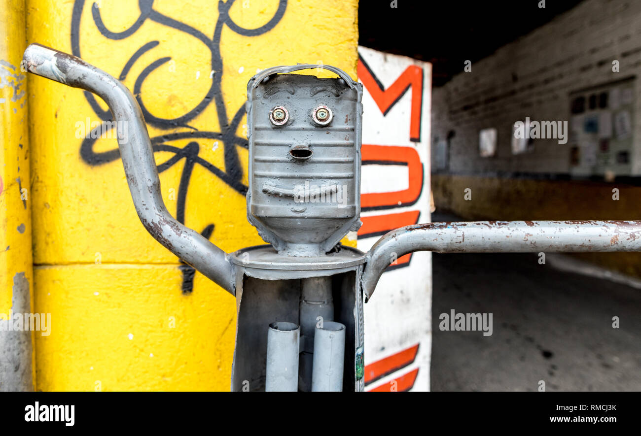 Car Part Sculpture Medellin Colombia South America Stock Photo