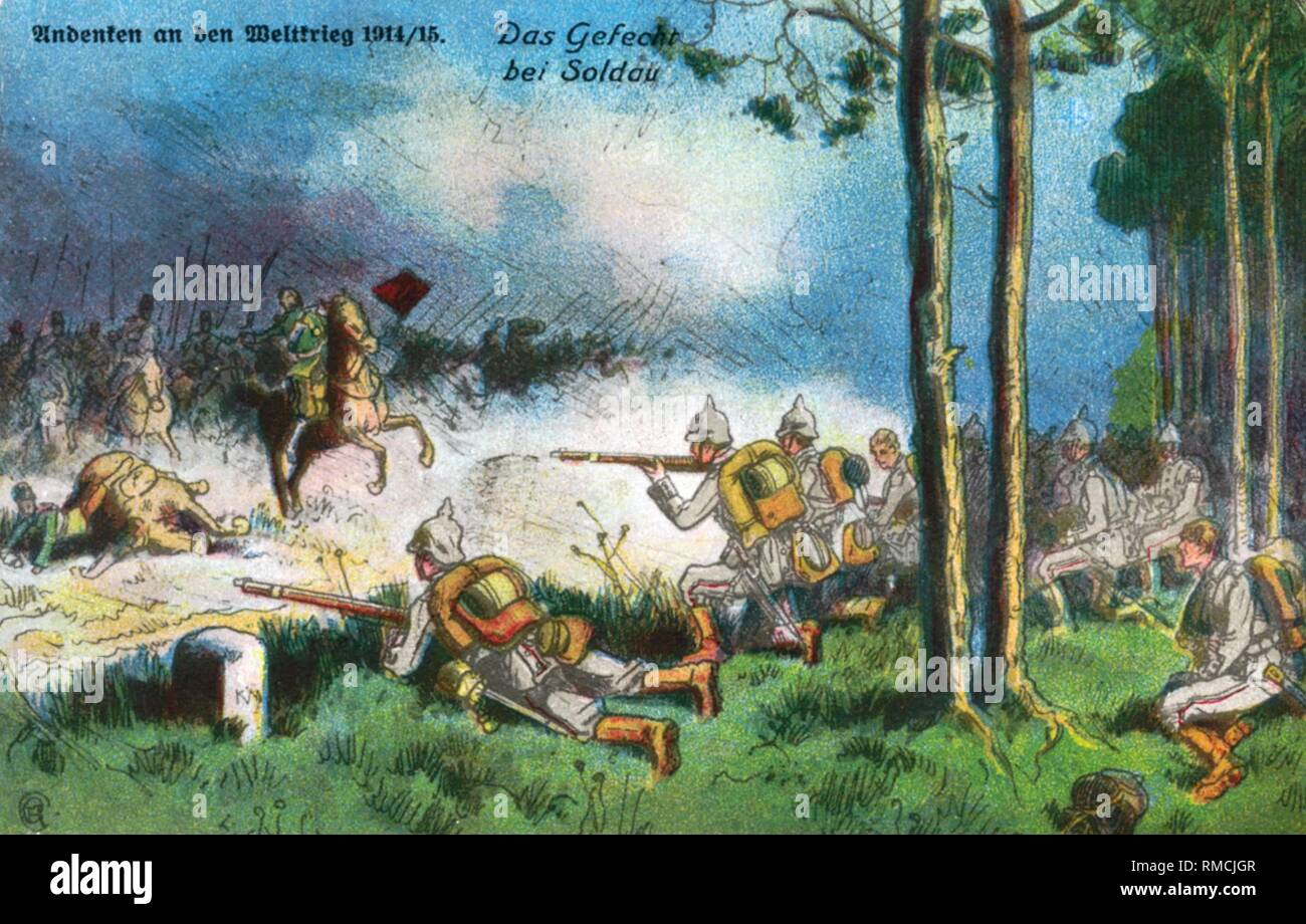 Infantry fights off Russian cavalry. Contemporary postcard. - Stock Image
