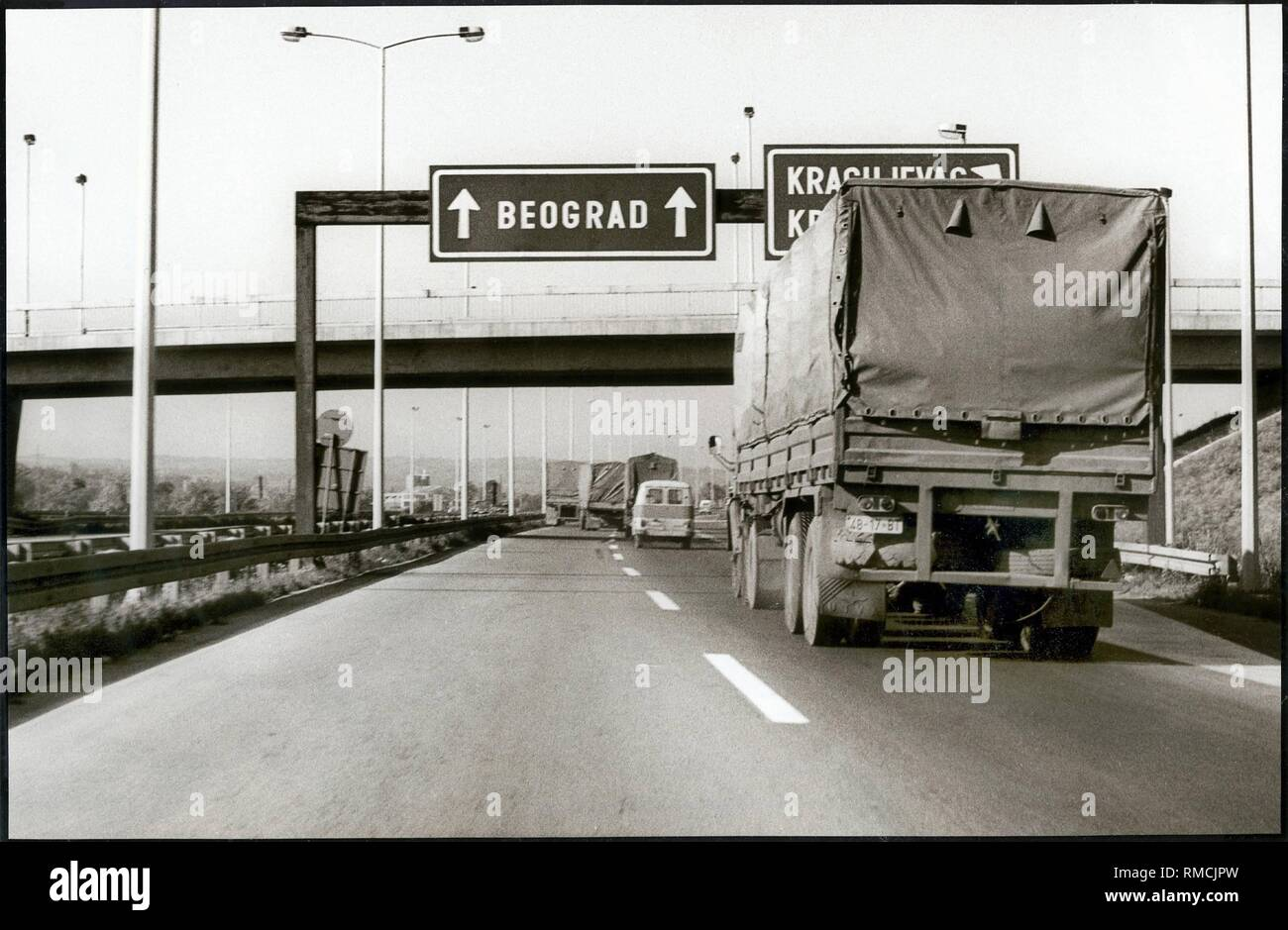 Yugoslavia Traffic On The Autoput On The Highway From Zagreb To Greece Three Lane Motorway With Breakdown Lane This New Road Is In Conformity With Our Highways October 1982 Stock Photo Alamy