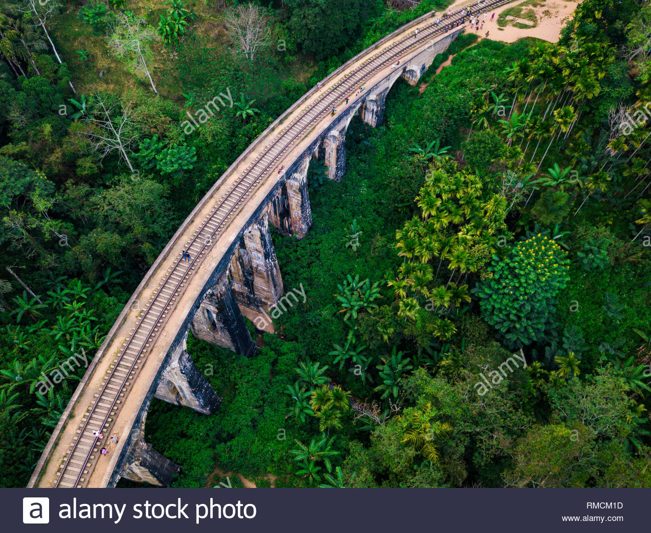 Aerial view of Nine Arches Bridge in Ella, Sri Lanka. Drone photo Stock Photo