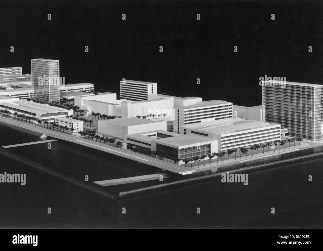 Model of the GDR television center Berlin-Adlershof from the year 1957. Stock Photo
