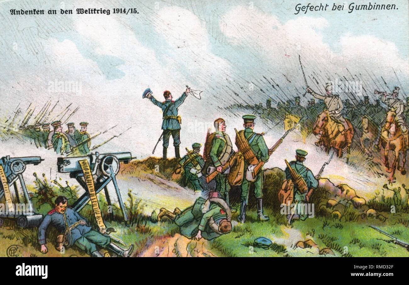 A Russian unit surrenders to the attacking German cavalry. Contemporary postcard. - Stock Image