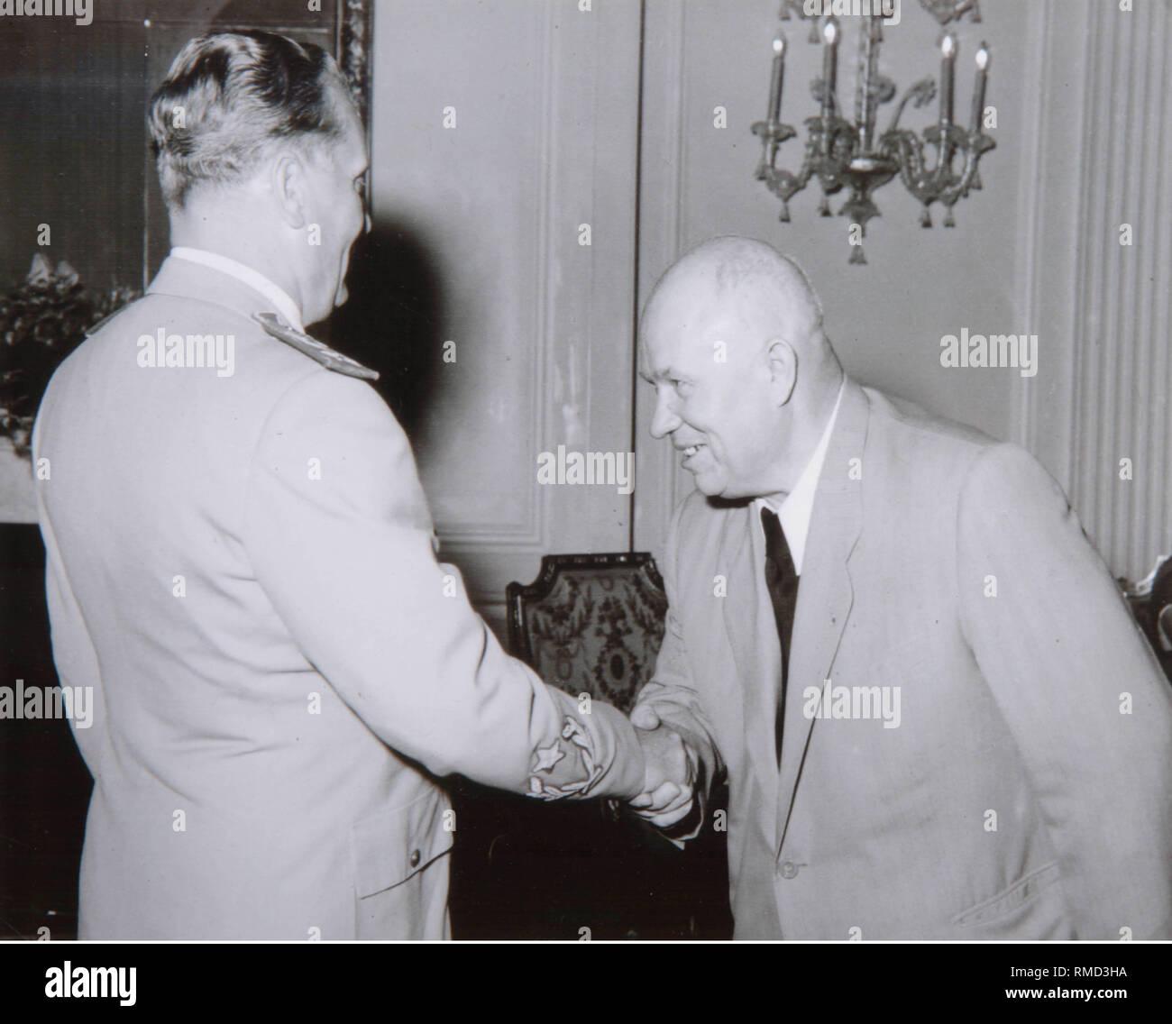 Josip Broz Tito and Nikita Sergyeyevich Khrushchev. Photograph - Stock Image